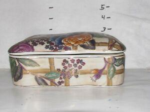 Oriental Decorative Accessory Accent Large Trinket Box Floral  Design.