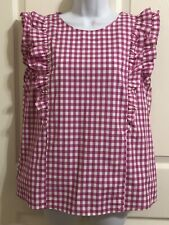 Tyler Boe Top Blouse Women's Pink White Gingham Checkered NWT ORG $145 Size 8