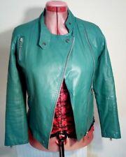 EMT Green Faux Leather PU Vegan BIKER JACKET Size S Chest c36ins c91cms