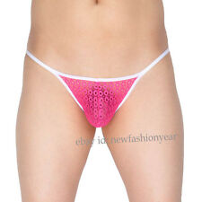 Men's Jacquard Lace Cheeky Briefs Underwear Open Crotch Male String Micro Briefs