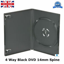 10 x 4 Way Black DVD 14mm Spine Holds 4 Discs Verso Pak Replacement Case Amaray