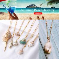 Women Boho Shell Conch Sea Shell Cowrie Beach Necklace Pendant Summer Jewelry UJ
