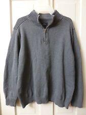 Mens L Gray Dockers Long Sleeve 100% Cotton 1/4 Zip Pullover Sweater Shirt