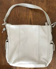 Fossil Leather Purse Shoulder Bag Ivory Creamy White Slouch Hobo Organizer