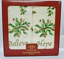 Lenox Holiday Fingertip Towels Believe Hope Christmas Set of 2 New In Box