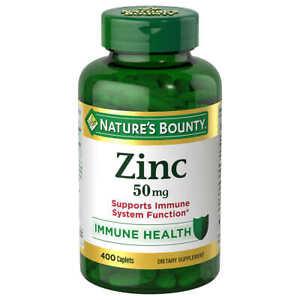 Nature's Bounty Zinc 50mg, 400 Caplets, Immune Health Supplement Exp 2023