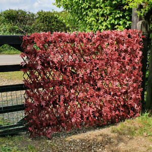 Artificial Red Acer Trellis Screen Expanding Garden Fence Privacy Screening 1x2m