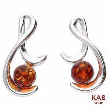 Cognac ambra baltica argento sterling 925 GIOIELLERIA Beauty orecchini. KAB -111