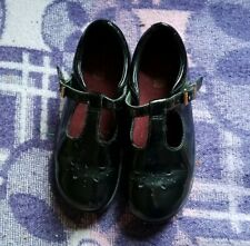 Clarks kids retro black patent leather t bar sandals school Shoes 11.5 F