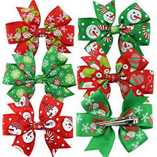 6Pcs Girl Christmas Holiday Gift Snowflake Ribbon Hair Bows Clip Girl Hairpin FO