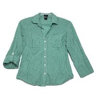 Ann Taylor 3/4 Tab Sleeve V Neck Button Front Blouse Womens Sz 4 Green Gingham