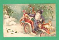 1907 HTL CHRISTMAS POSTCARD SANTA CLAUS PURPLE COAT/CAP JALOPY TOYS SNOWMAN TREE