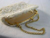 Simon Vintage Ivory Beaded Sequin Clasp Closure Clutch Hand Bag Purse
