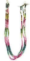 """28 Ct Natural Pink Tourmaline Gemstone Rondelle Loose Beads String 14""""- B211"""