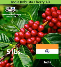 Green Coffee Beans India Robusta Cherry AB Unroasted, 5 lbs.