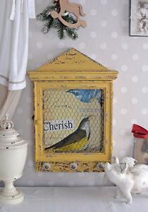 NOSTALGIC WALL CABINET BIRD HOUSE SHABBY CHIC VINTAGE ROMANCE