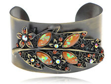 Women Fashion Antique Bronze Leaf New Topaz Crystal Rhinestone Hot Chic Bracelet