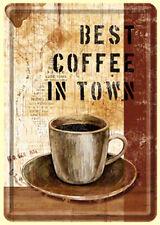 Retro Tin Metal Postcard 'BEST COFFEE IN TOWN' Mini Sign 10 x 14cm Vintage look