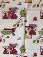 1950s 50s Atomic Barkcloth Fabric Green Red Mid Century Art Deco Kitchen Novelty