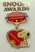 Vtg Aviva Snoopy Awards Peanuts Worlds Greatest Grandmother Pin 1970-80s New NOS