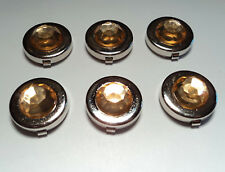 6- SILVER PLATED  17 1/2MM BUTTON COVERS WITH LT TOPAZ STONE-M251