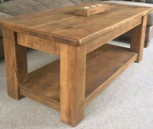 SOLID WOOD CHUNKY COFFEE CONSOLE TABLE WITH SHELF RUSTIC PLANK Indigo Furniture