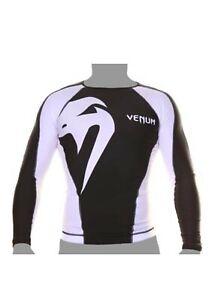 Venum Giant Long Sleeve MMA Rashguard - Black/White SIZE M