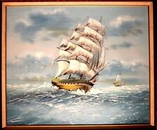 Brig Sailing Ship Painting/Sailboat VINTAGE Nautical Painting Signed Waller