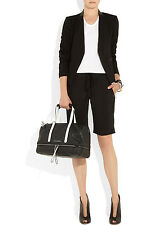 NEW-KARL LAGERFELD BLACK AND WHITE EXPANDABLE LEATHER TOTE
