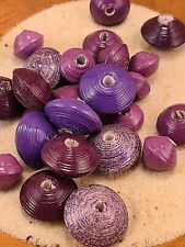 Handmade Paper Beads Painted Purple Loose Recycled Bicone Saucer 26ct (O)