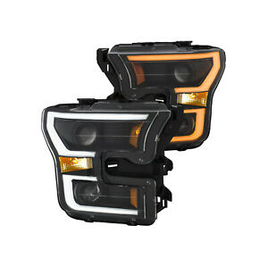 Anzo For 15- 17 Ford F-150 Projector Plank Style Headlights Amber 111357