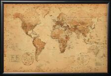 Framed World Map Vintage Map of the World Dry Mounted Wood Frame