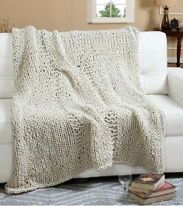 100% Polyester Chenille Super Soft Chunky Hand Knit Throw Blanket