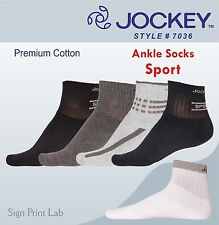 5 PAIRS JOCKEY SPORT SOCKS7036-ASSORTED COLOURS -ANKLE LENGTH-COTTON-COMFORT FIT