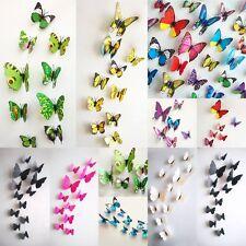 12 Pièces chaud bricolage 3D Papillon Autocollant Mural Art Design Décalques