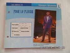 CARTE FICHE PLAISIR DE CHANTER HERBERT LEONARD POUR LE PLAISIR