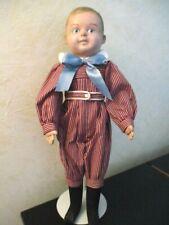 "Antique~Vtg Oil Cloth~Martha Chase Boy Doll 16 1/2"" Blue Eyes~Brown Hair~V.G.C."