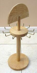 Wooden Rotating Keyring Jewellery Necklace Bracelet Stand 12 Hooks - Handmade
