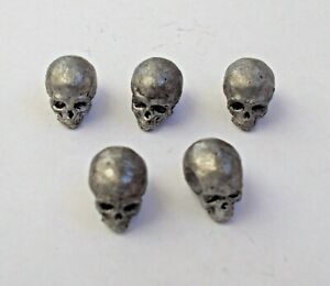 """1/30 scale Lot of 5 pcs Skull for Diorama Tin Metal Soldier 5x10 mm / 0,2x0,4"""""""