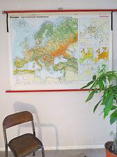 Superbe vintage abat école géographique carte de l'Europe agriculture