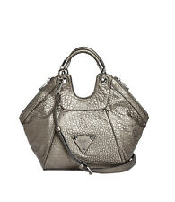 Nwt GUESS Off Beat Small Satchel Hobo Handbag Purse Metallic Pewter Silver