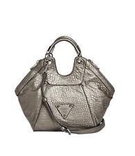 Nwt GUESS Off Beat Small Satchel Hobo Handbag Purse Metallic Pewter Silver