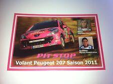 CP POSTCARD CARTOLINA PEUGEOT 207 DALMASSO WRC RALLY RALLYE 2011