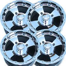 "Chrome 14x8 4/137 ATV Rims Wheels some Can-Am Bombardier Honda Kawasaki IRS 2""BS"