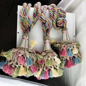 Curtain Tiebacks Pastel Colors Rope Set of Three