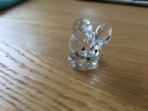 Swarovski crystal mouse with leather tail figurine