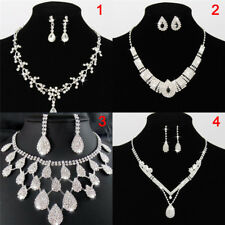 Women Lady Crystal Drop Neclace  Rhinestone Wedding Bridal Jewelry Set FashionRW