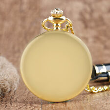 Vintage Gold Smooth Full Hunter Castle Men Women Quartz Pocket Watch Fob Chain