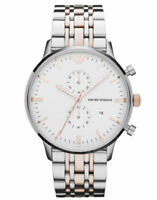 New Emporio Armani AR0399 Two Tone Stainless Steel Chronograph Men's