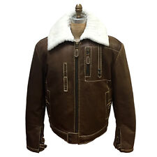 MEN'S WINTER BROWN GENUINE LEATHER CANAL JACKET WITH SHEEPSKIN COLLAR, SIZE 2XL